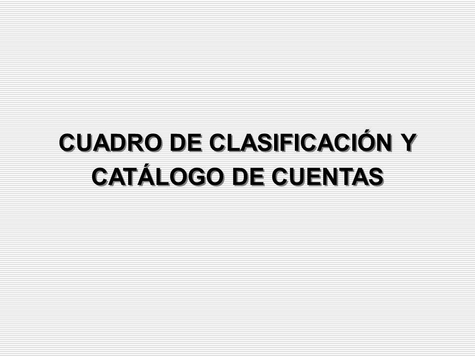 CUADRO DE CLASIFICACIÓN Y CATÁLOGO DE CUENTAS