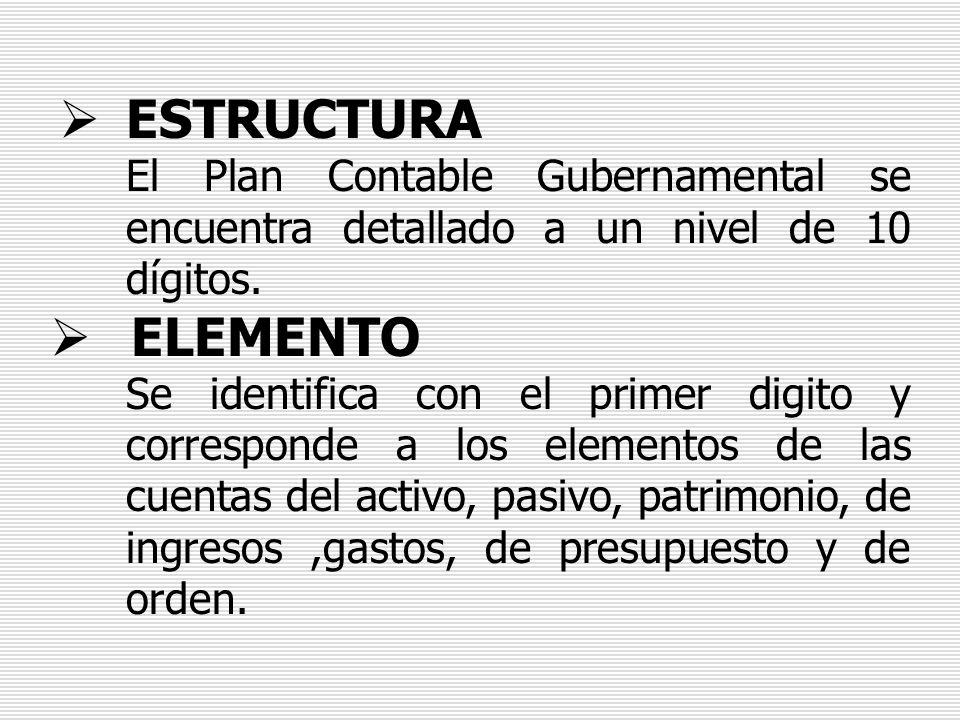 ESTRUCTURA El Plan Contable Gubernamental se encuentra detallado a un nivel de 10 dígitos. ELEMENTO.