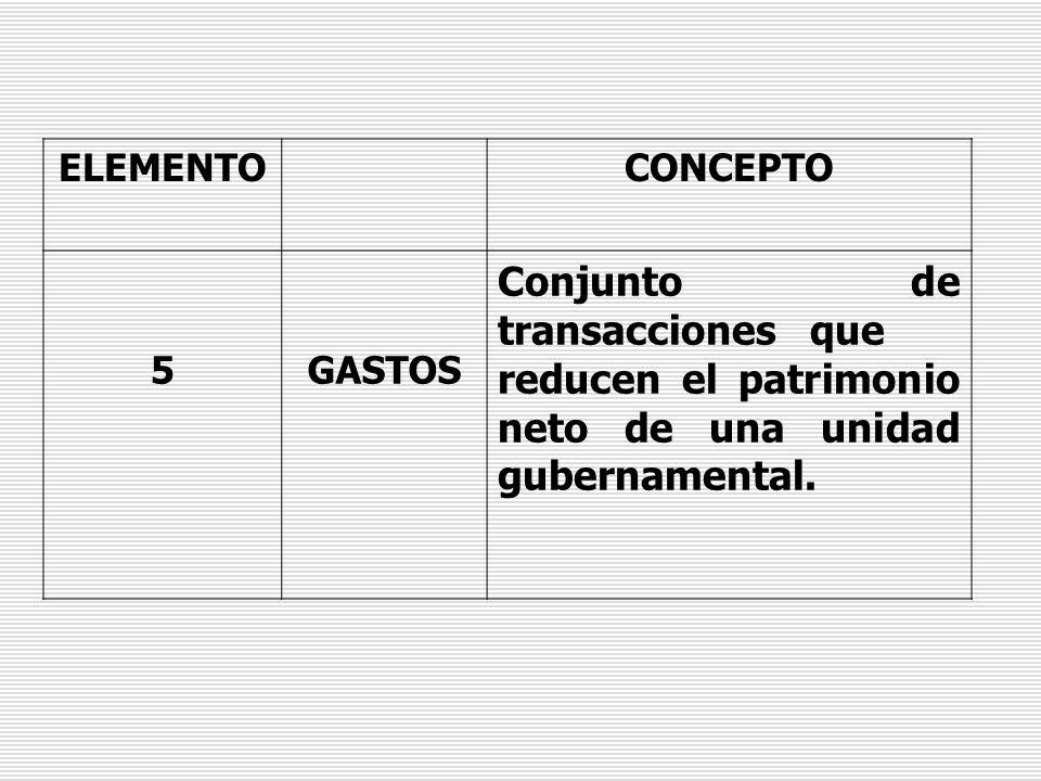 ELEMENTO CONCEPTO. 5. GASTOS.