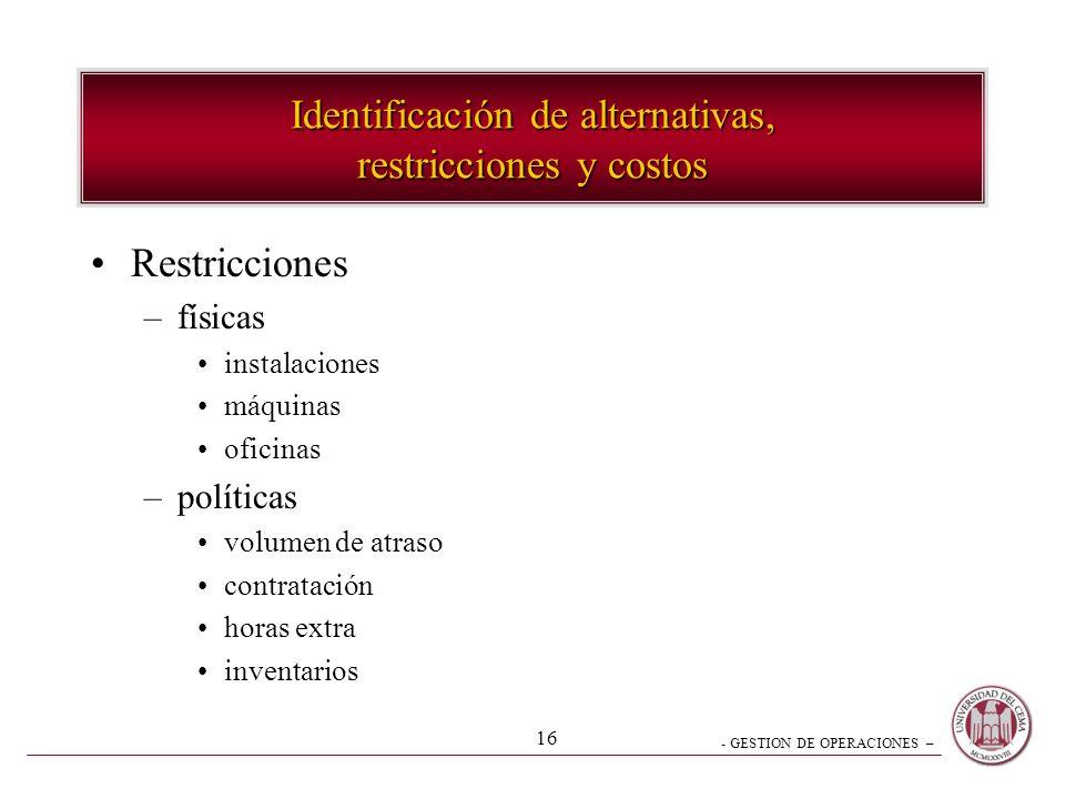 Identificación de alternativas, restricciones y costos