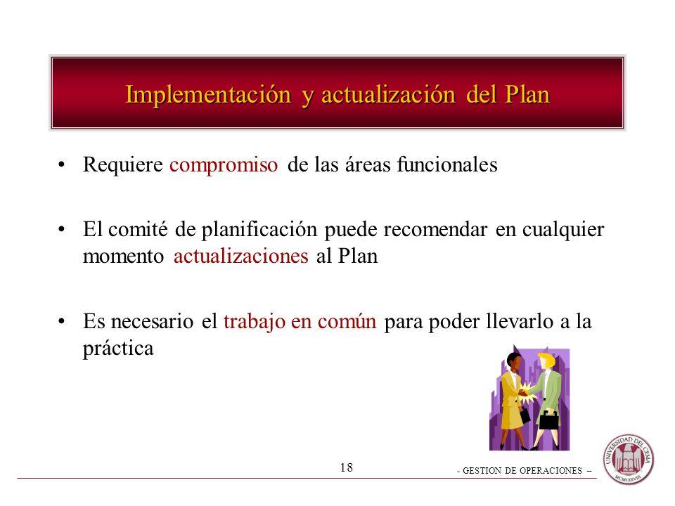 Implementación y actualización del Plan
