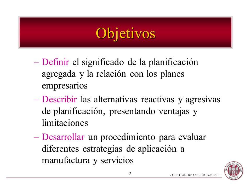 Objetivos Definir el significado de la planificación agregada y la relación con los planes empresarios.