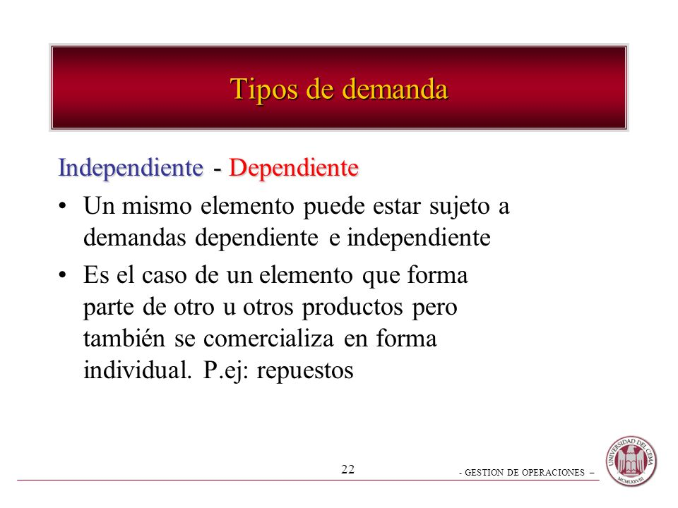 Tipos de demanda Independiente - Dependiente