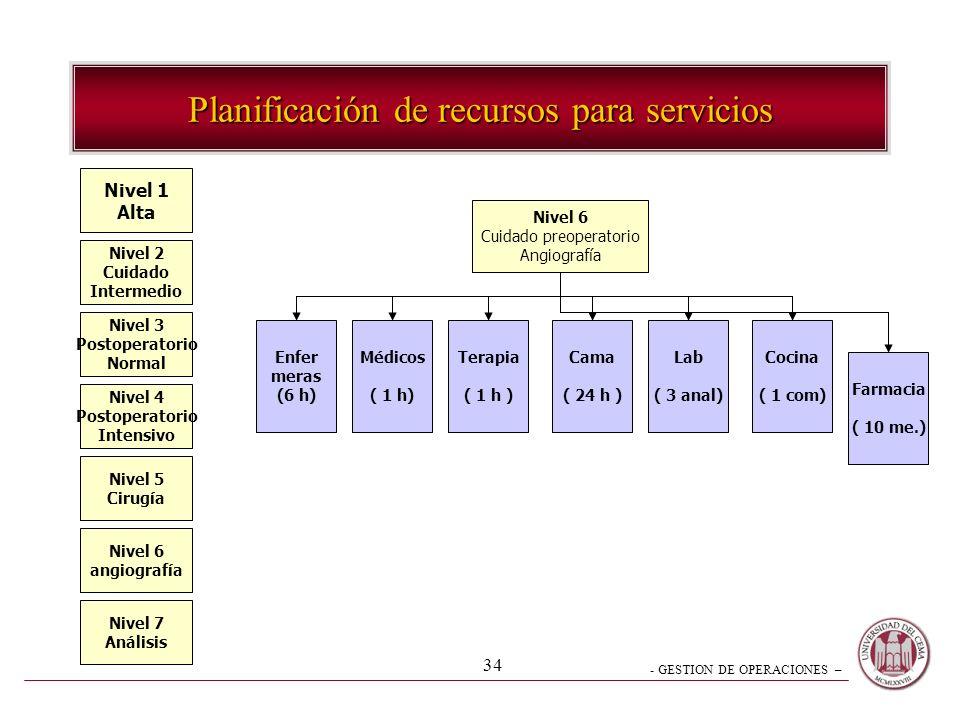 Planificación de recursos para servicios