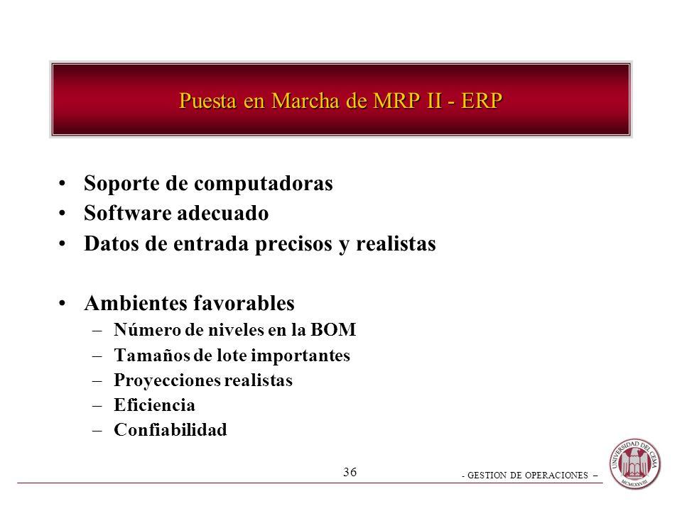 Puesta en Marcha de MRP II - ERP