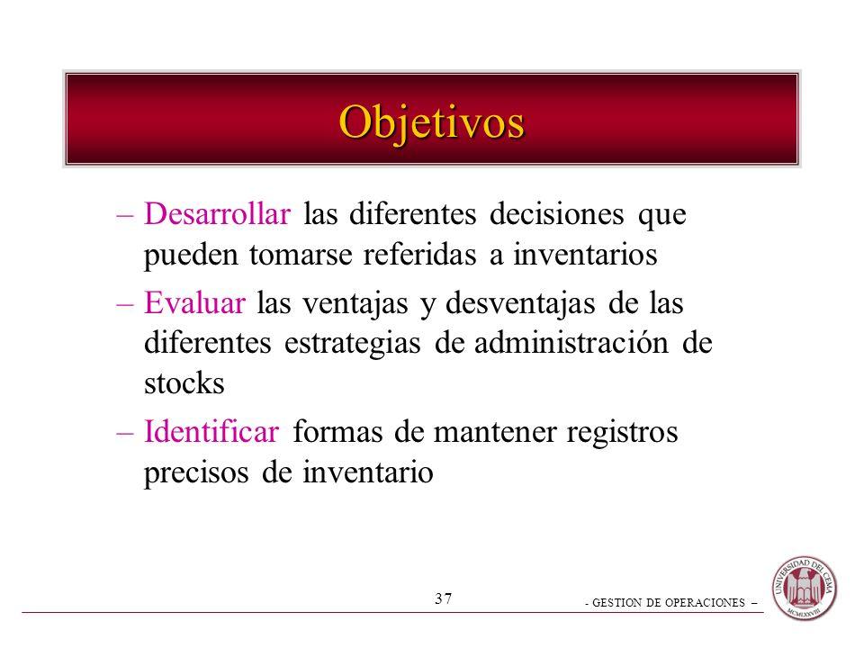 Objetivos Desarrollar las diferentes decisiones que pueden tomarse referidas a inventarios.