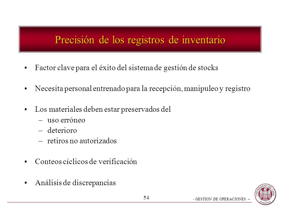 Precisión de los registros de inventario