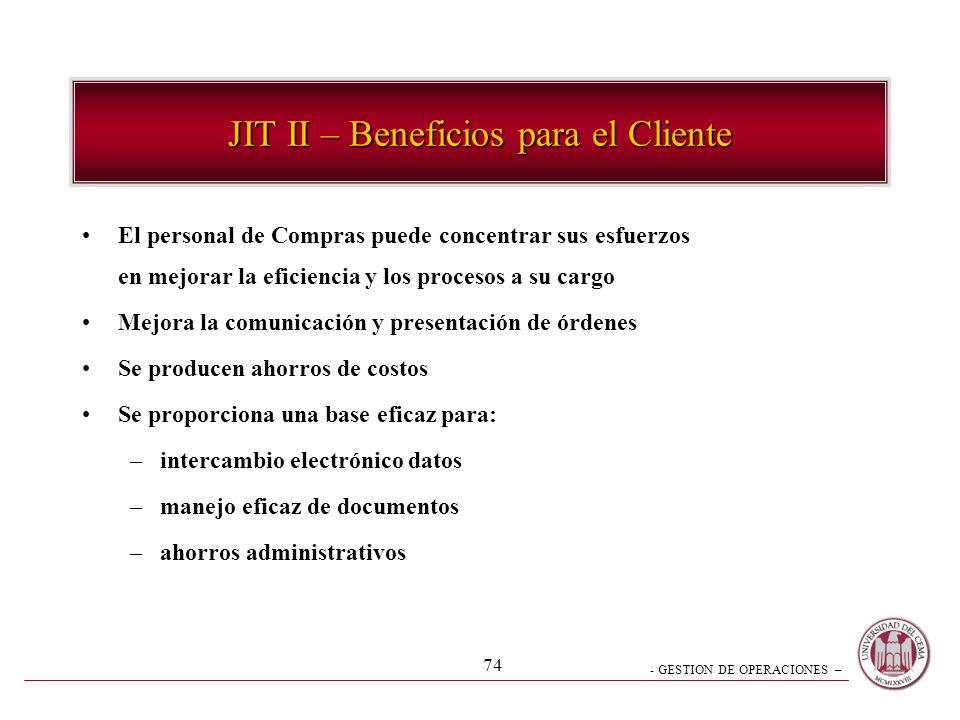 JIT II – Beneficios para el Cliente