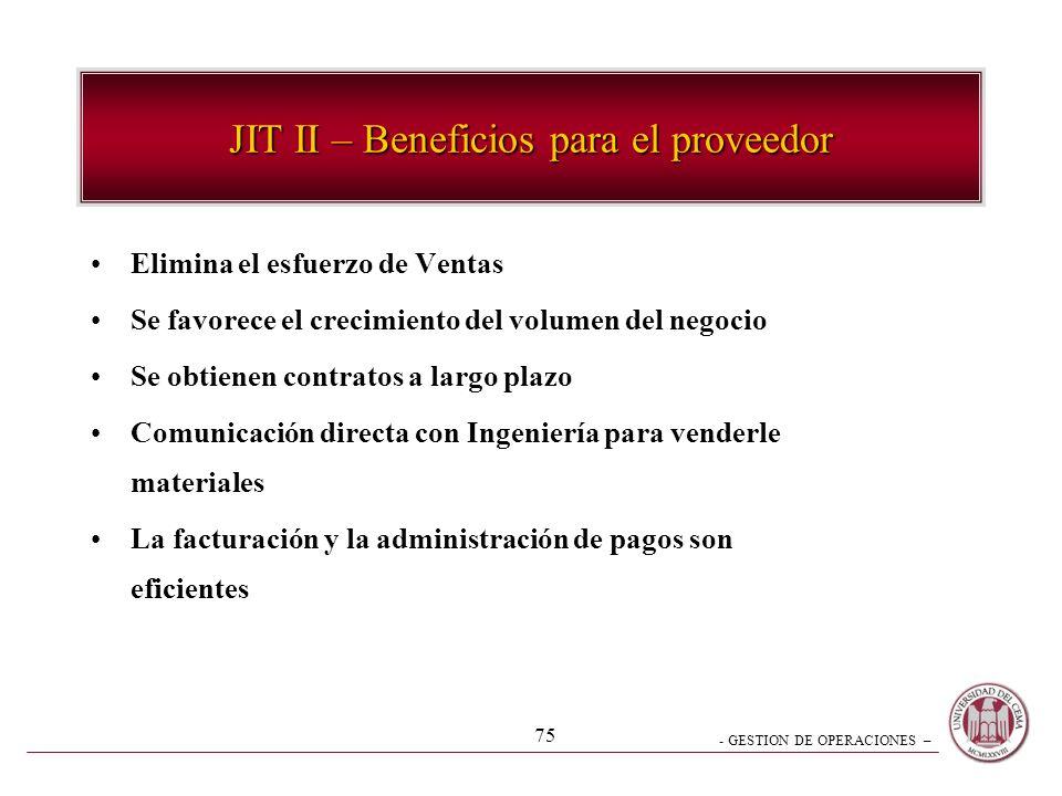 JIT II – Beneficios para el proveedor