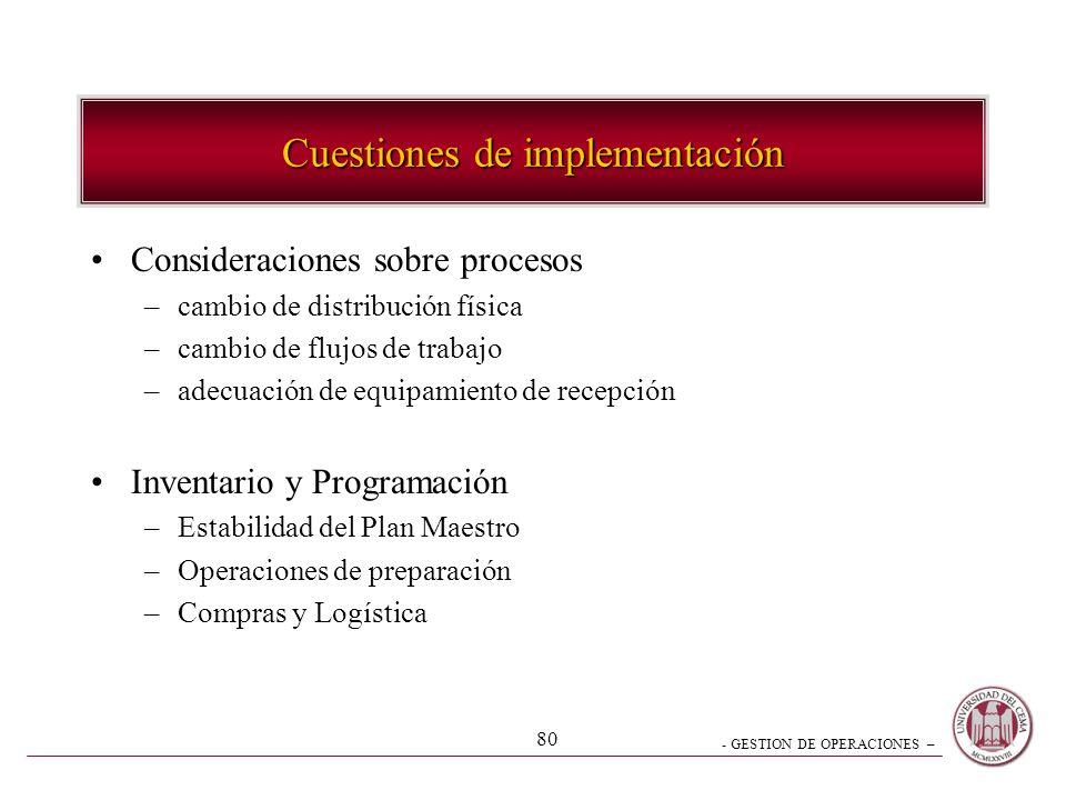 Cuestiones de implementación