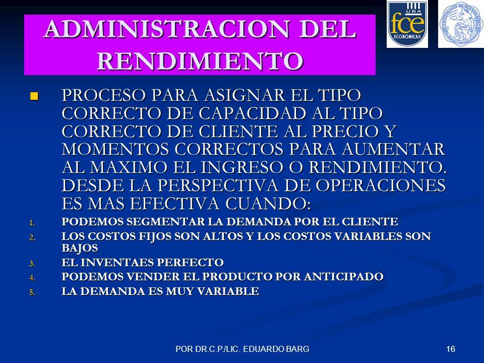 ADMINISTRACION DEL RENDIMIENTO