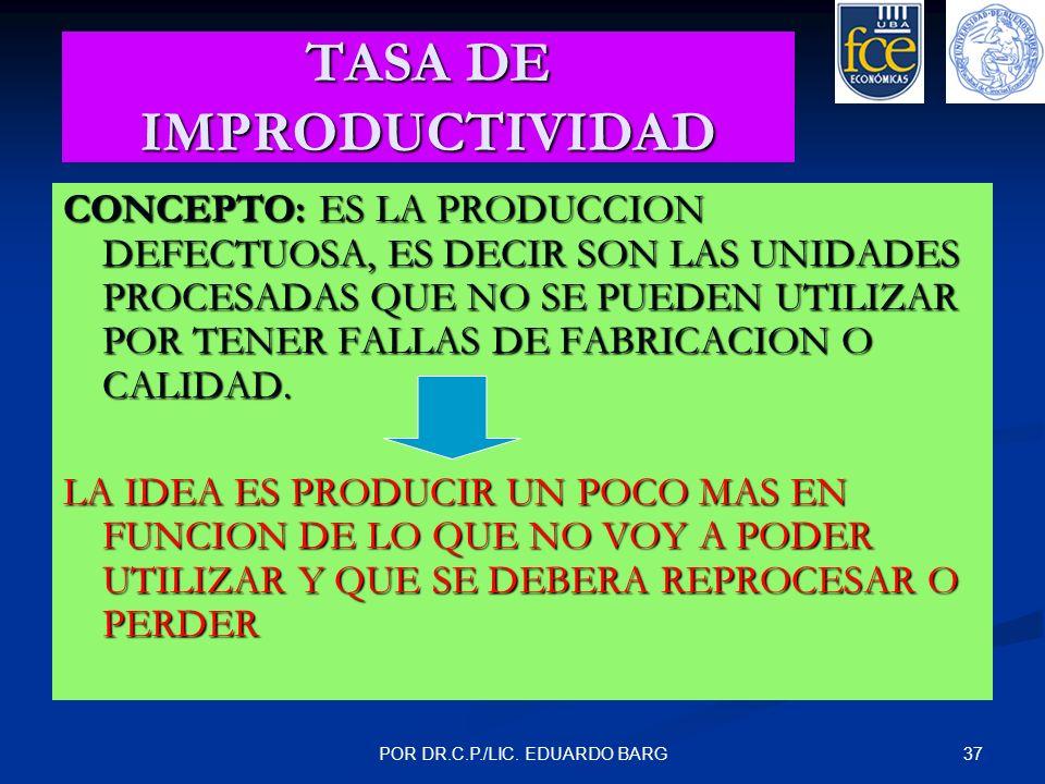 TASA DE IMPRODUCTIVIDAD