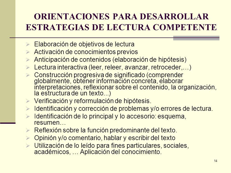 ORIENTACIONES PARA DESARROLLAR ESTRATEGIAS DE LECTURA COMPETENTE