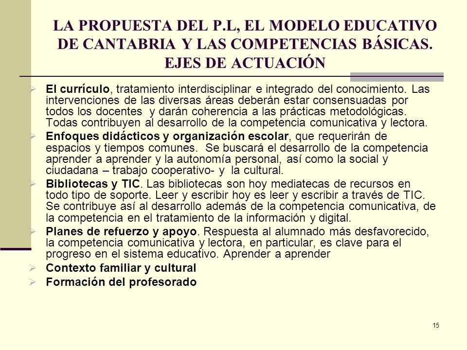 LA PROPUESTA DEL P.L, EL MODELO EDUCATIVO DE CANTABRIA Y LAS COMPETENCIAS BÁSICAS. EJES DE ACTUACIÓN
