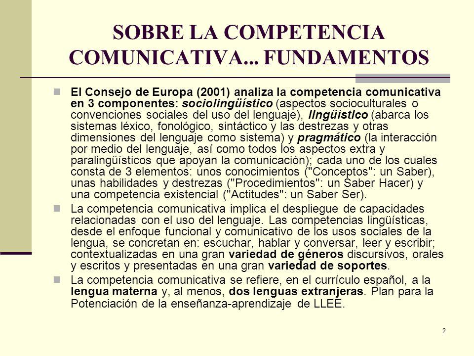SOBRE LA COMPETENCIA COMUNICATIVA... FUNDAMENTOS