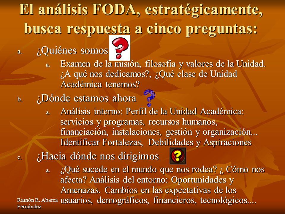 El análisis FODA, estratégicamente, busca respuesta a cinco preguntas: