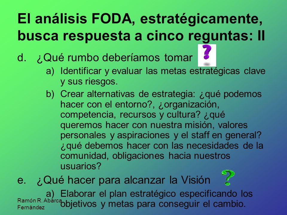 El análisis FODA, estratégicamente, busca respuesta a cinco reguntas: II