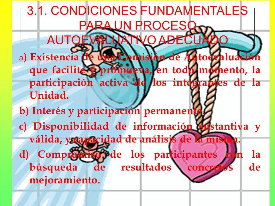 3.1. CONDICIONES FUNDAMENTALES PARA UN PROCESO AUTOEVALUATIVO ADECUADO
