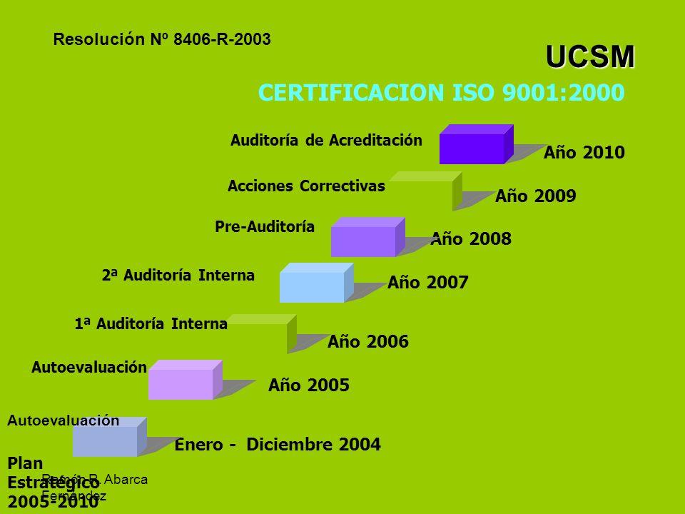 UCSM CERTIFICACION ISO 9001:2000 Resolución Nº 8406-R-2003 Año 2010