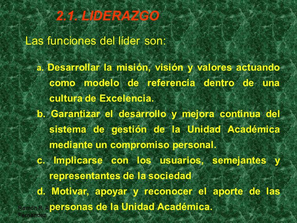 2.1. LIDERAZGO Las funciones del líder son: