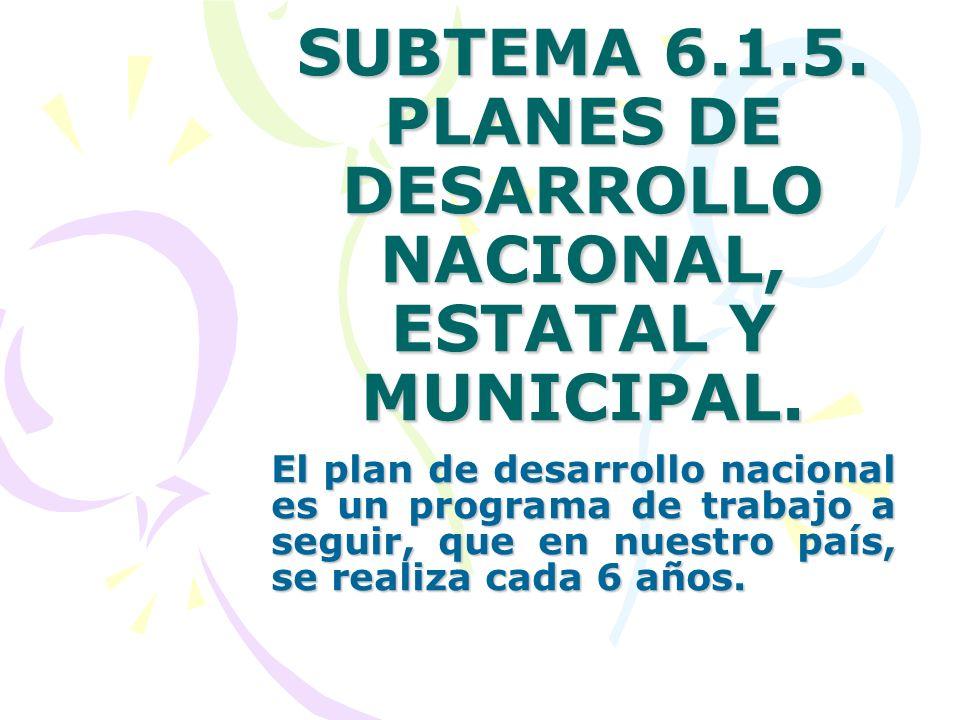 SUBTEMA 6.1.5. PLANES DE DESARROLLO NACIONAL, ESTATAL Y MUNICIPAL.