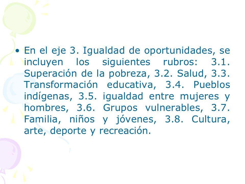 En el eje 3. Igualdad de oportunidades, se incluyen los siguientes rubros: 3.1.