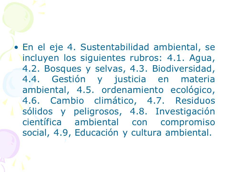 En el eje 4. Sustentabilidad ambiental, se incluyen los siguientes rubros: 4.1.
