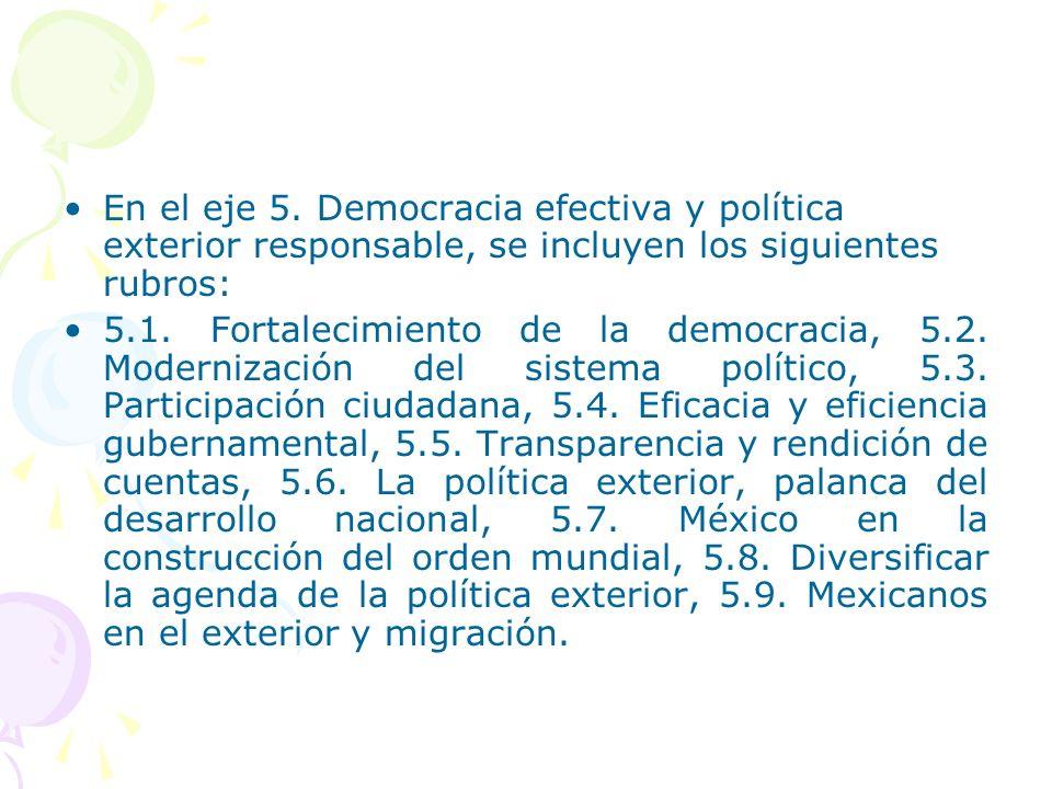 En el eje 5. Democracia efectiva y política exterior responsable, se incluyen los siguientes rubros: