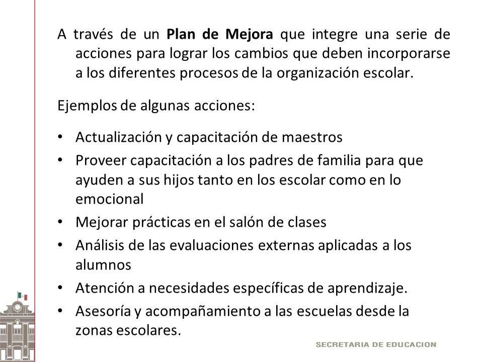 A través de un Plan de Mejora que integre una serie de acciones para lograr los cambios que deben incorporarse a los diferentes procesos de la organización escolar.