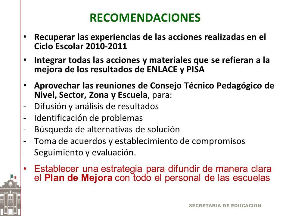 RECOMENDACIONES Recuperar las experiencias de las acciones realizadas en el Ciclo Escolar 2010-2011.