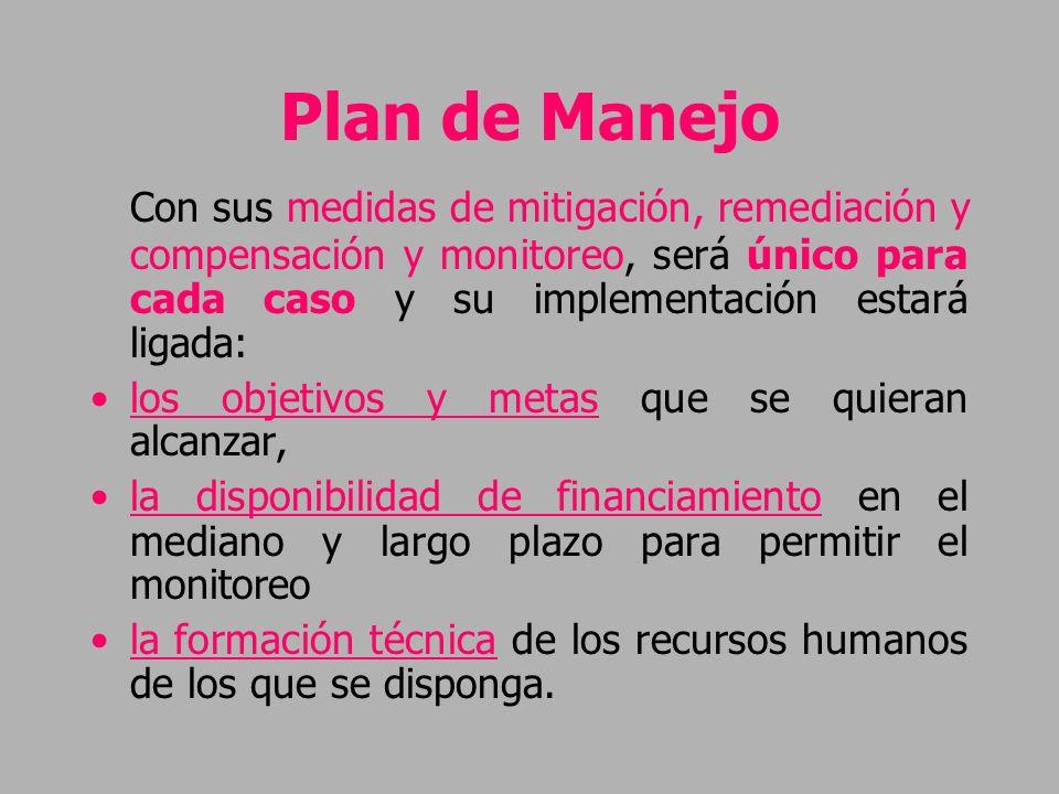 Plan de Manejo Con sus medidas de mitigación, remediación y compensación y monitoreo, será único para cada caso y su implementación estará ligada: