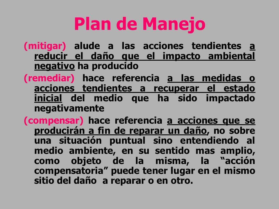 Plan de Manejo (mitigar) alude a las acciones tendientes a reducir el daño que el impacto ambiental negativo ha producido.
