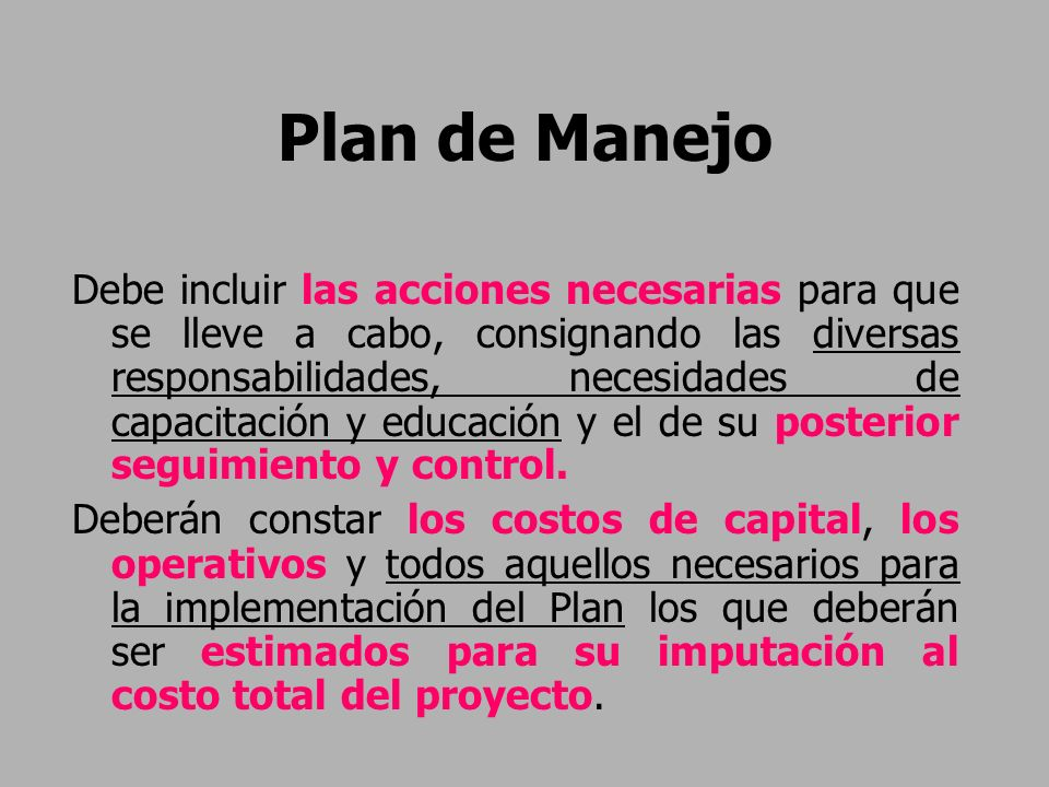 Plan de Manejo