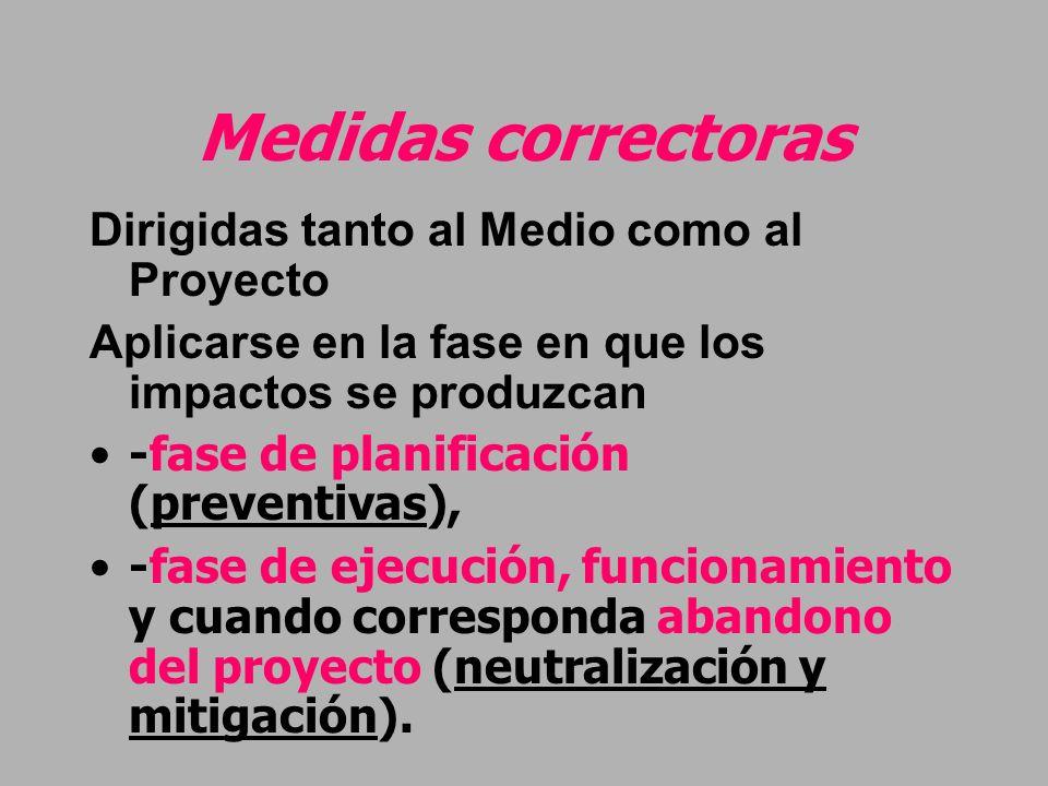 Medidas correctoras Dirigidas tanto al Medio como al Proyecto