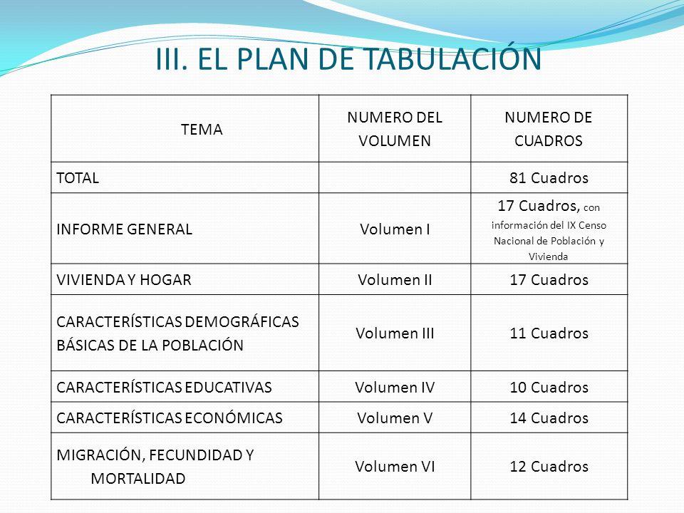 III. EL PLAN DE TABULACIÓN