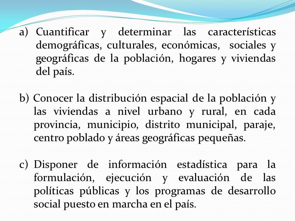 Cuantificar y determinar las características demográficas, culturales, económicas, sociales y geográficas de la población, hogares y viviendas del país.