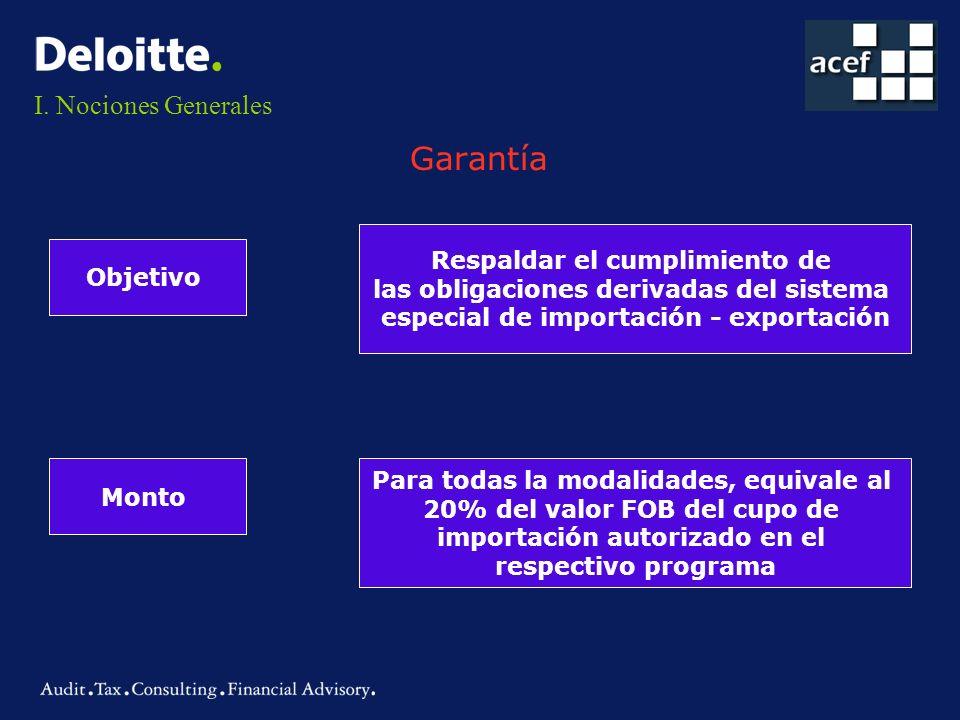 Garantía I. Nociones Generales Respaldar el cumplimiento de Objetivo