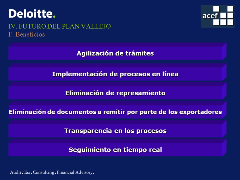 IV. FUTURO DEL PLAN VALLEJO F. Beneficios