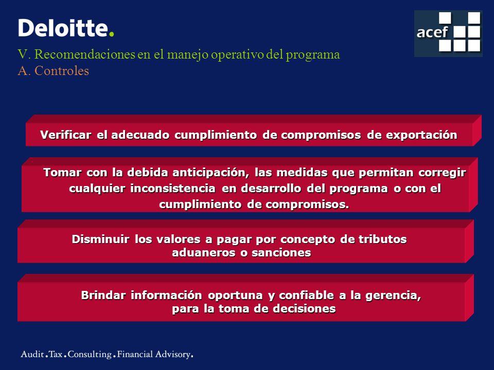 V. Recomendaciones en el manejo operativo del programa A. Controles