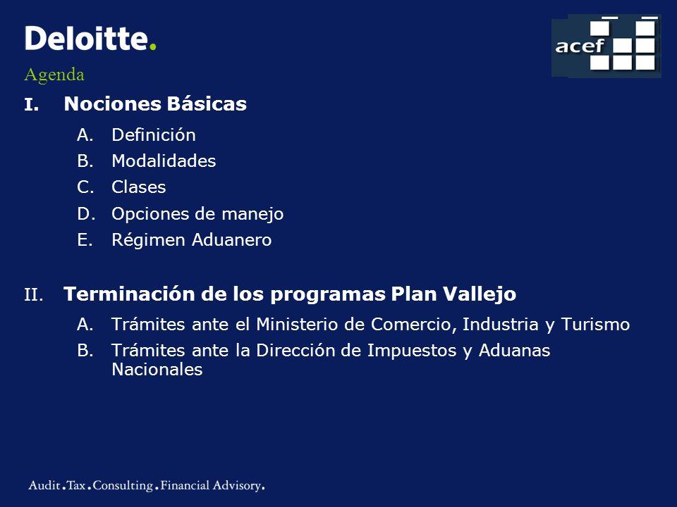 Agenda I. Nociones Básicas Definición Modalidades Clases