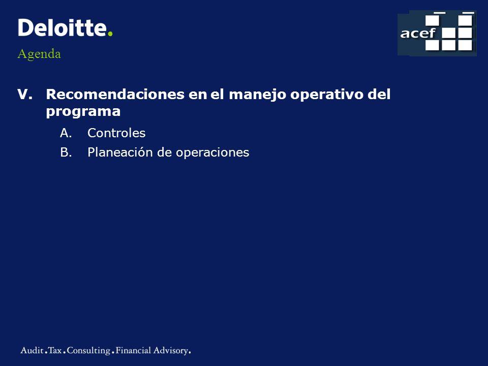 Recomendaciones en el manejo operativo del programa