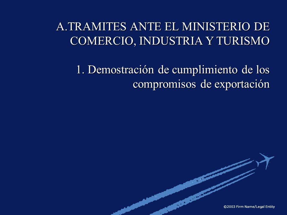 TRAMITES ANTE EL MINISTERIO DE COMERCIO, INDUSTRIA Y TURISMO
