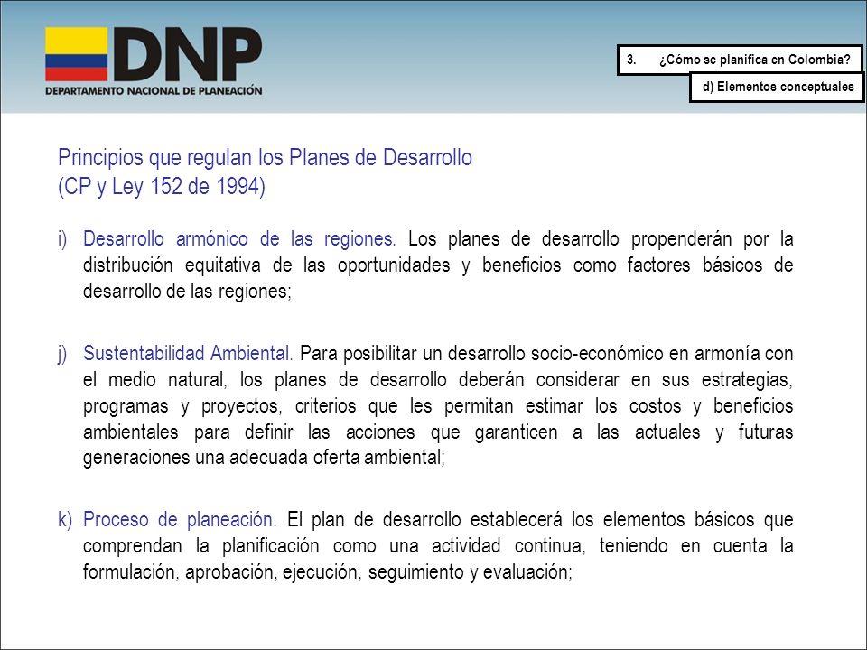Principios que regulan los Planes de Desarrollo (CP y Ley 152 de 1994)