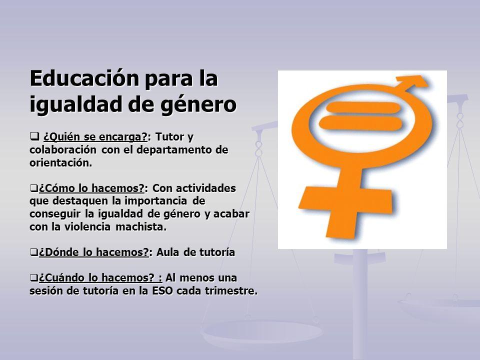 Educación para la igualdad de género
