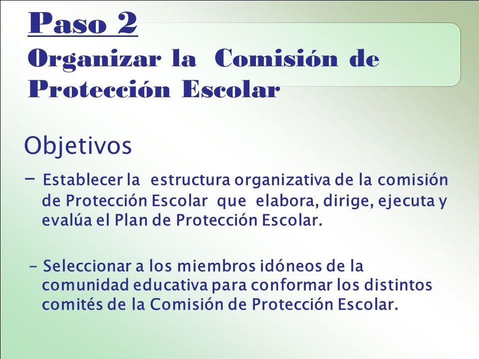 Paso 2 Organizar la Comisión de Protección Escolar