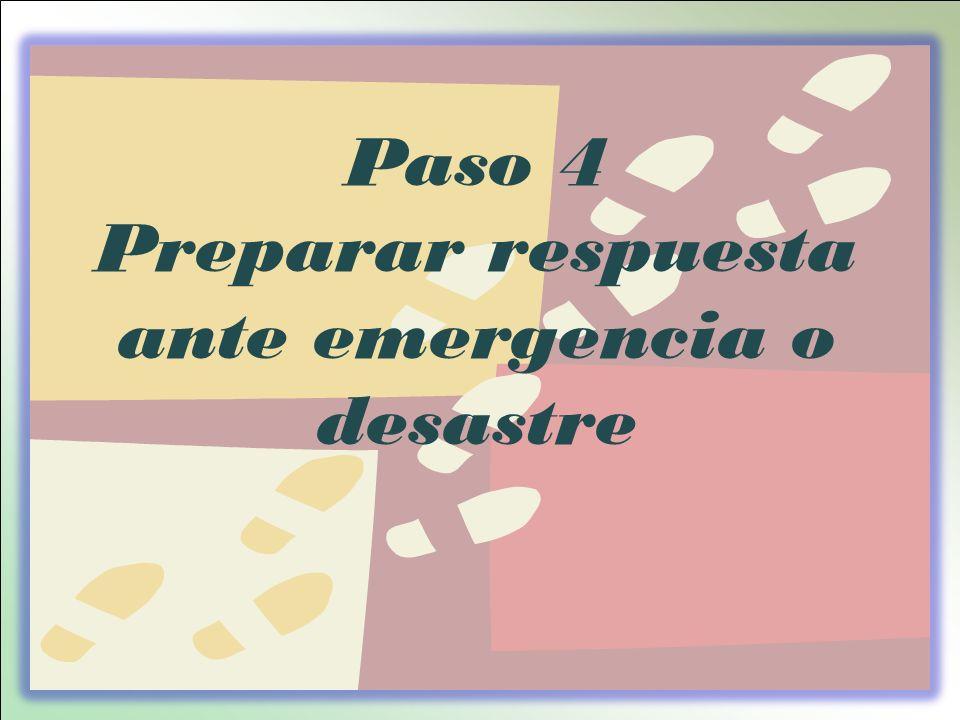 Preparar respuesta ante emergencia o desastre
