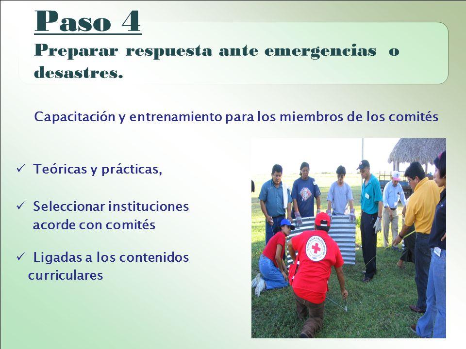 Paso 4 Preparar respuesta ante emergencias o desastres