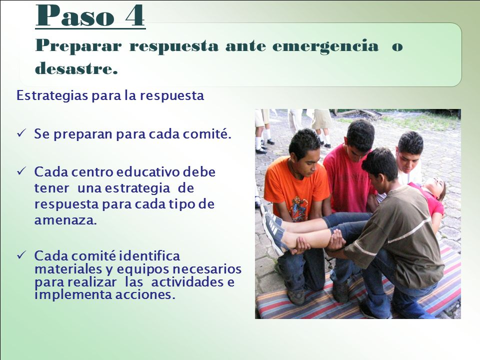 Paso 4 Preparar respuesta ante emergencia o desastre.