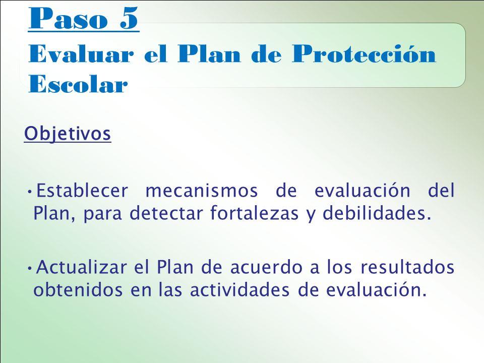 Paso 5 Evaluar el Plan de Protección Escolar