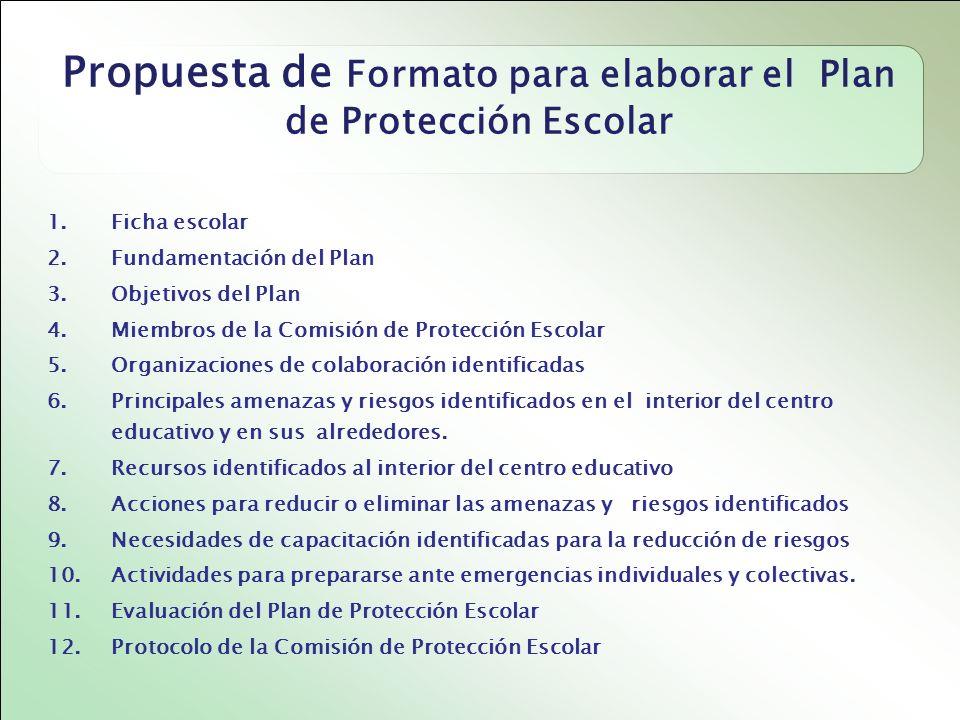 Propuesta de Formato para elaborar el Plan de Protección Escolar